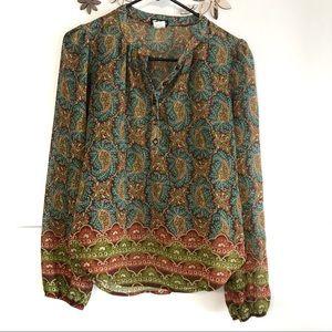 🦋 3/$15 Lily White boho blouse size Small